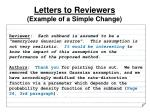 letters to reviewers example of a simple change