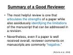 summary of a good reviewer