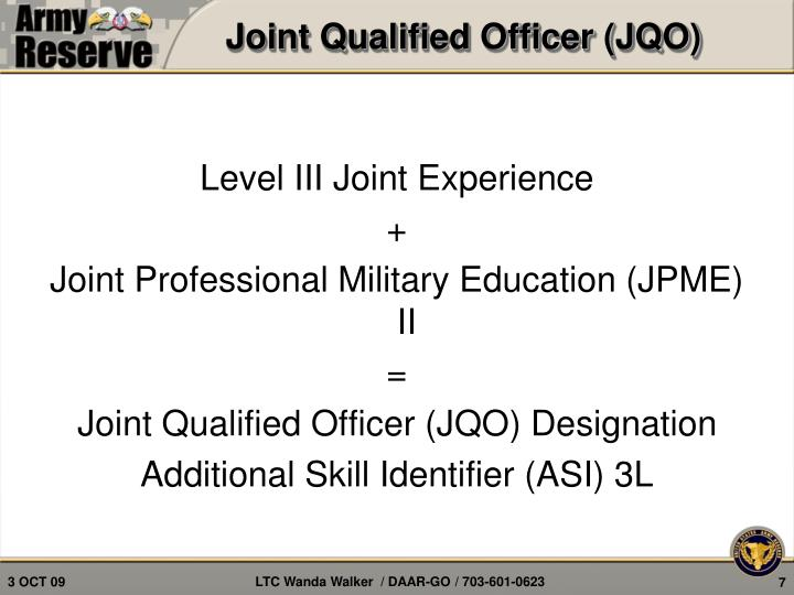 Joint Qualified Officer (JQO)