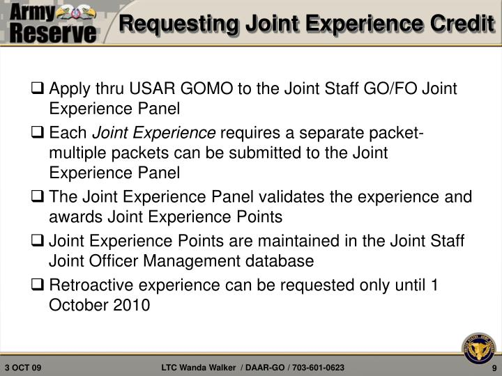 Requesting Joint Experience Credit