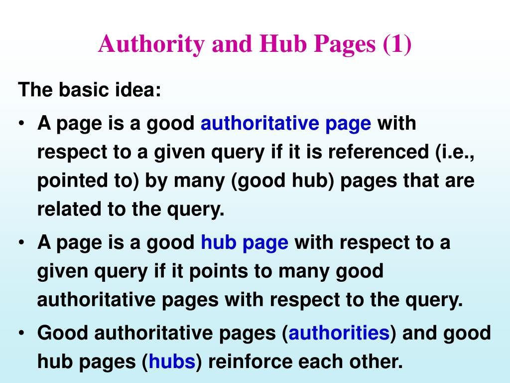Authority and Hub Pages (1)