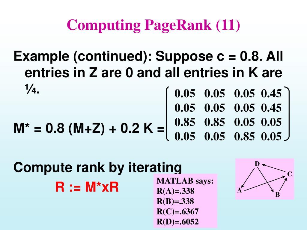 Computing PageRank (11)