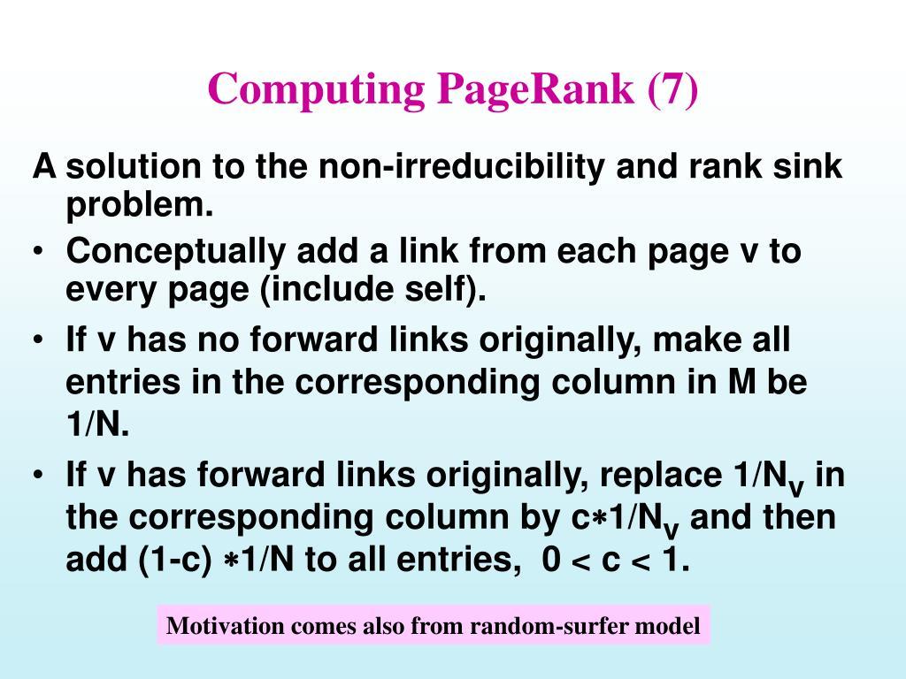 Computing PageRank (7)