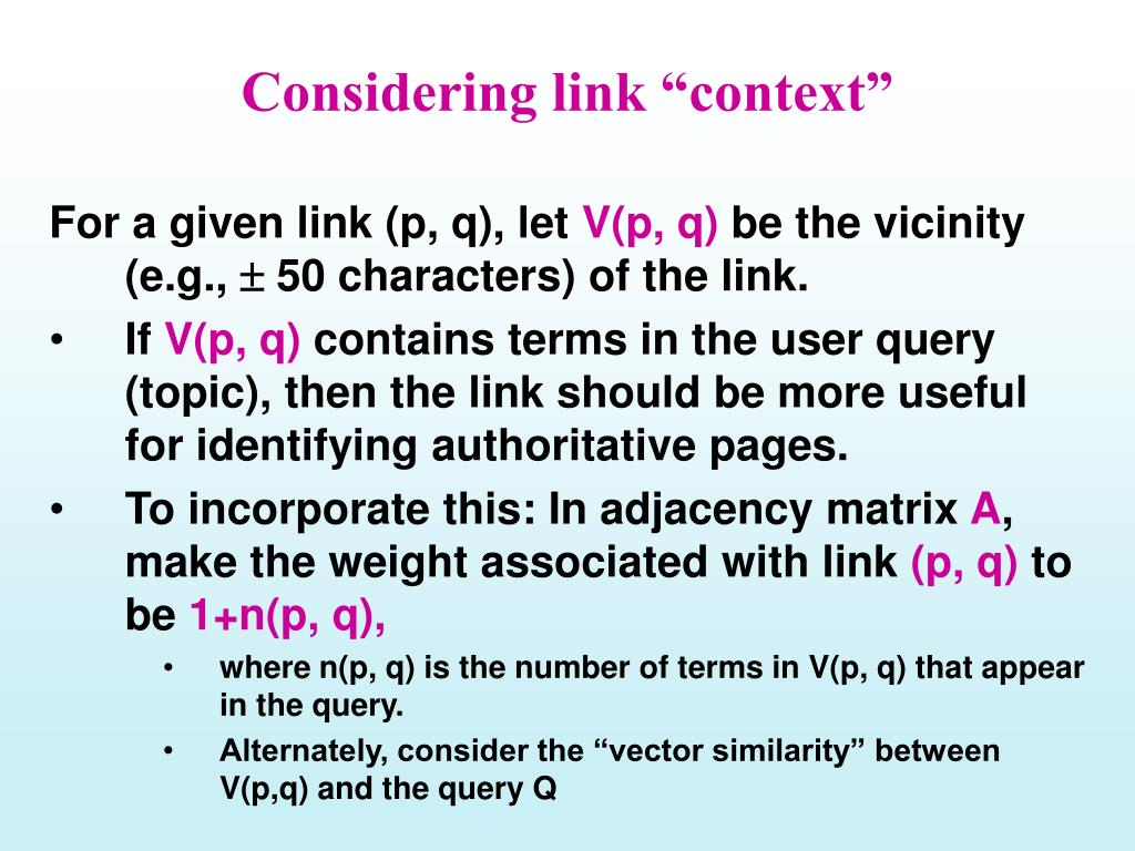 """Considering link """"context"""""""