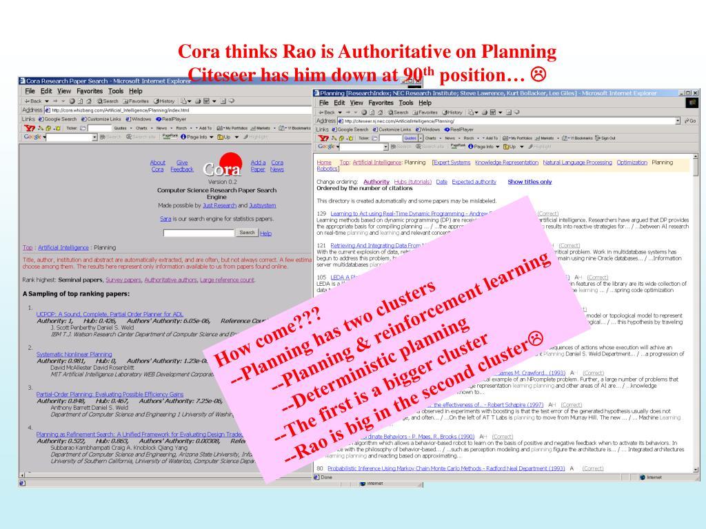 Cora thinks Rao is Authoritative on Planning