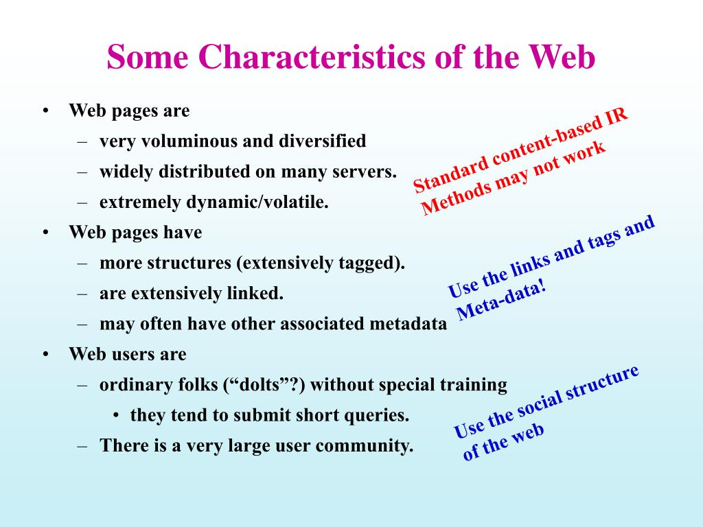 Some Characteristics of the Web