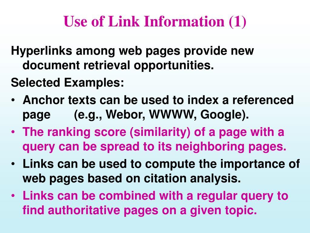 Use of Link Information (1)