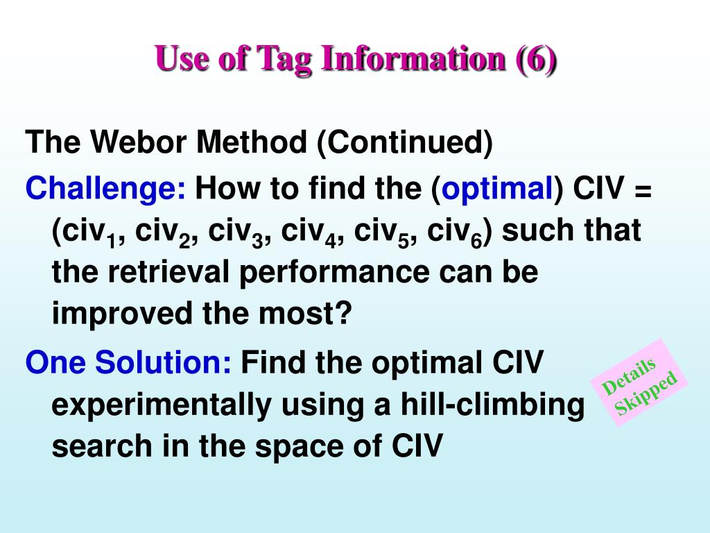 Use of Tag Information (6)