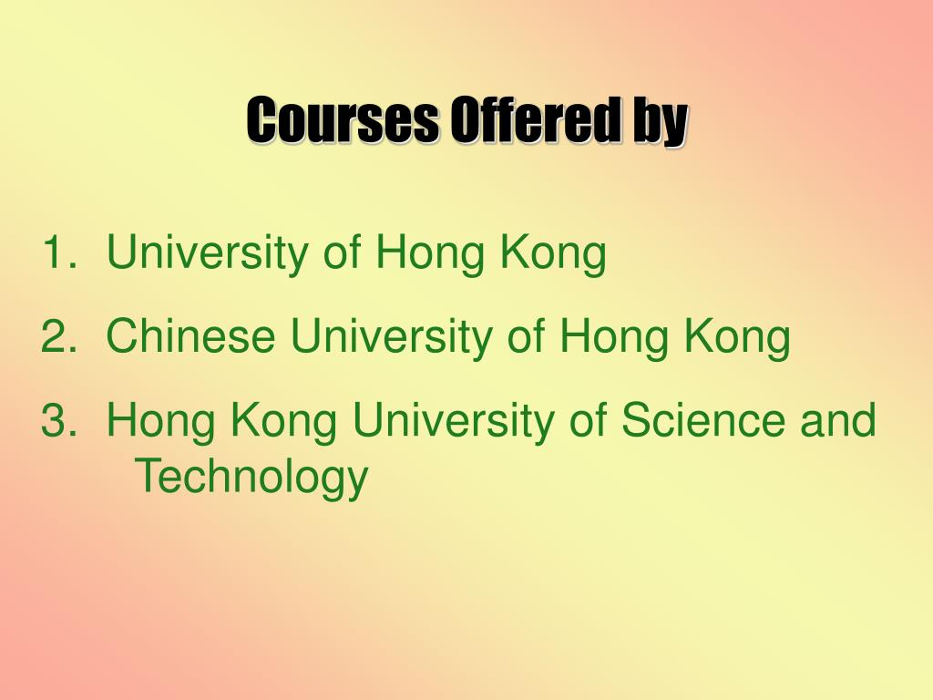 Courses Offered by