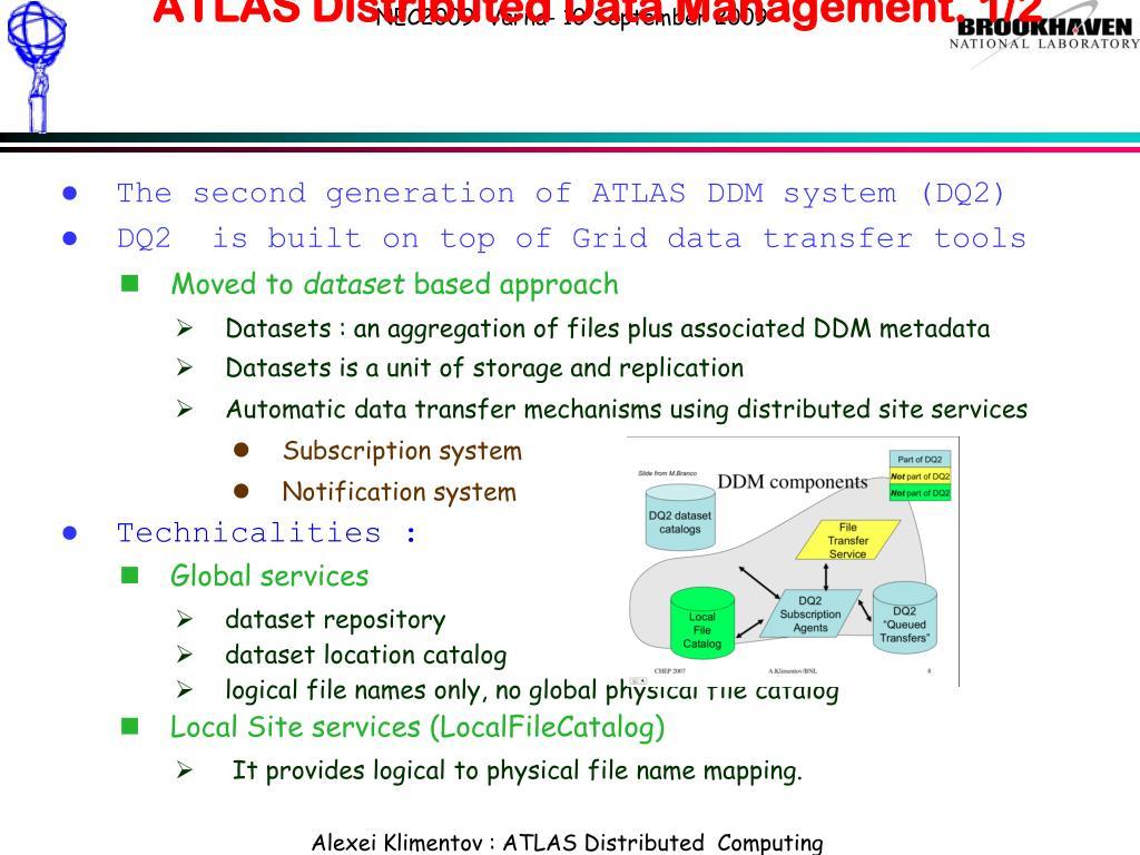 ATLAS Distributed Data Management. 1/2