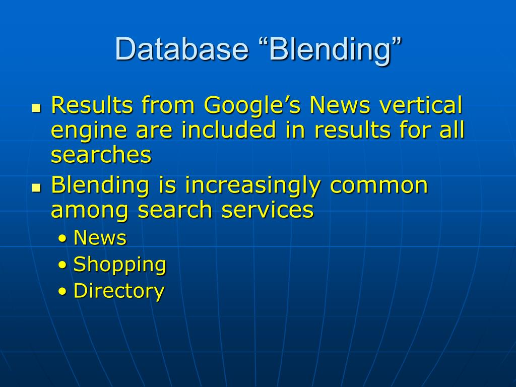 """Database """"Blending"""""""