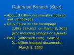 database breadth size