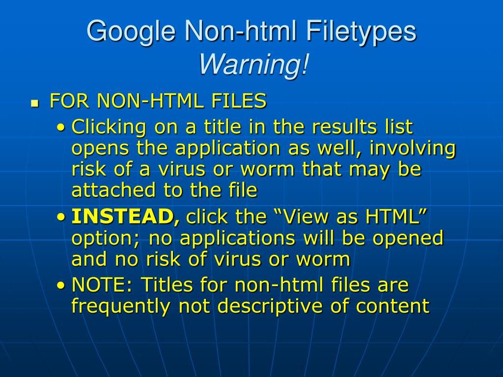 Google Non-html Filetypes