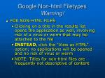 google non html filetypes warning