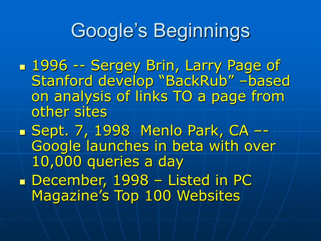 Google's Beginnings