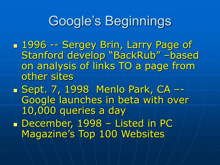Google s beginnings