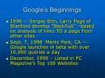 google s beginnings