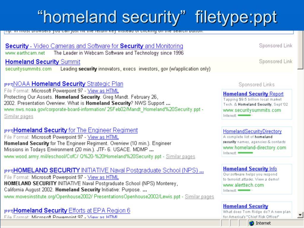 """homeland security""  filetype:ppt"