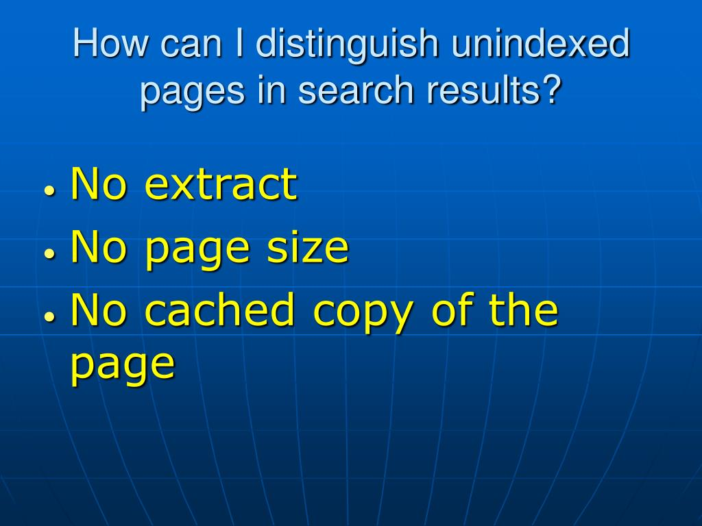 How can I distinguish unindexed pages in search results?