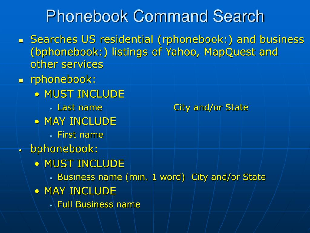 Phonebook Command Search