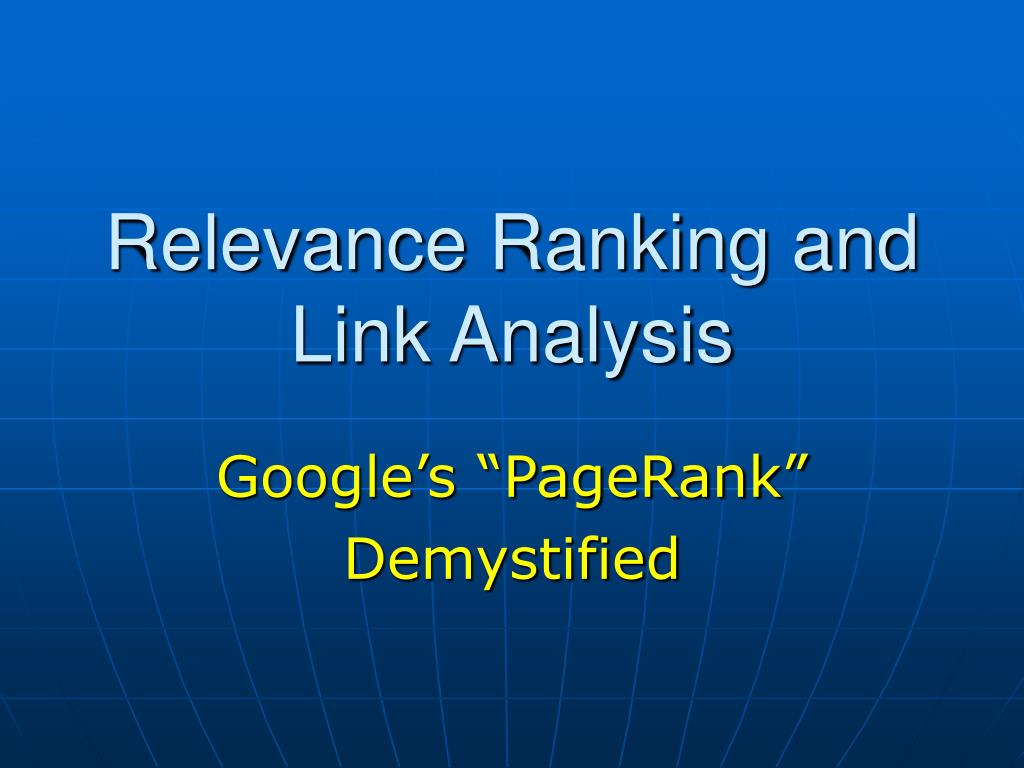 Relevance Ranking and