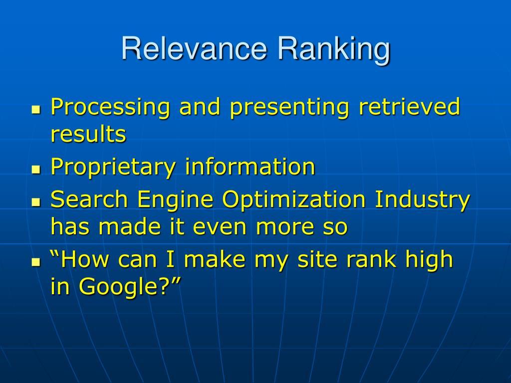 Relevance Ranking