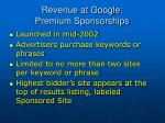 revenue at google premium sponsorships