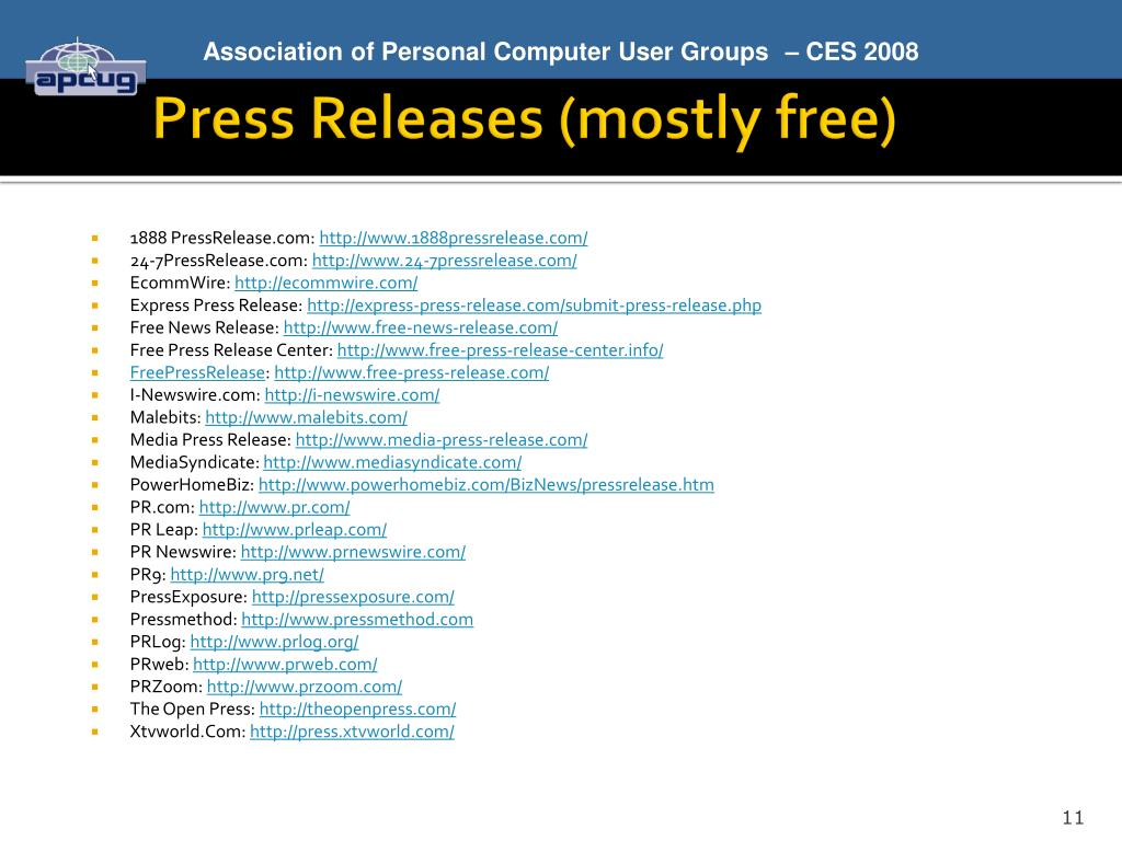 Press Releases (mostly free)