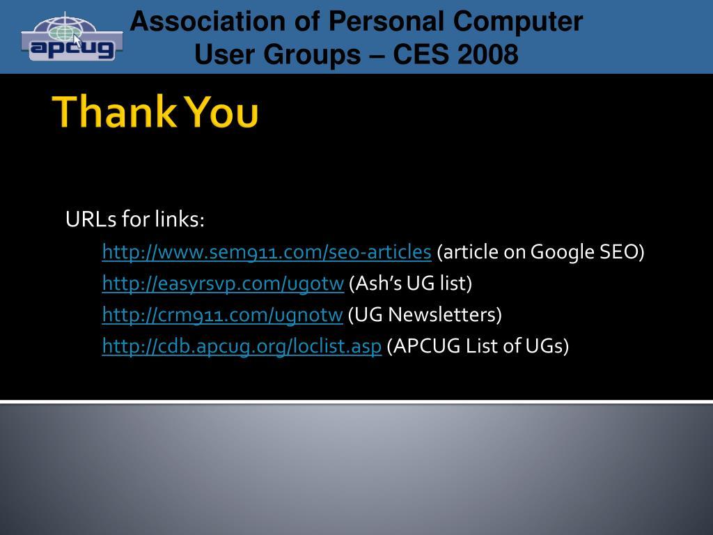 URLs for links: