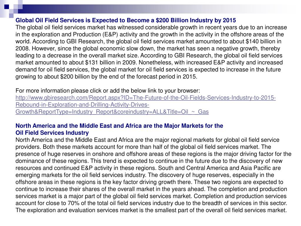 Global Oil Field Services is Expected to Become a $200 Billion Industry by 2015