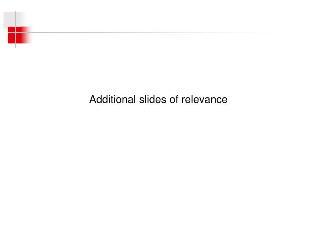 Additional slides of relevance