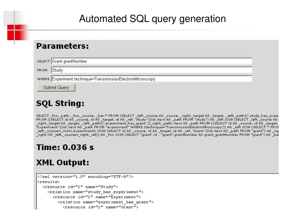 Automated SQL query generation