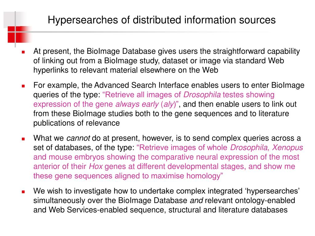 Hypersearches of distributed information sources
