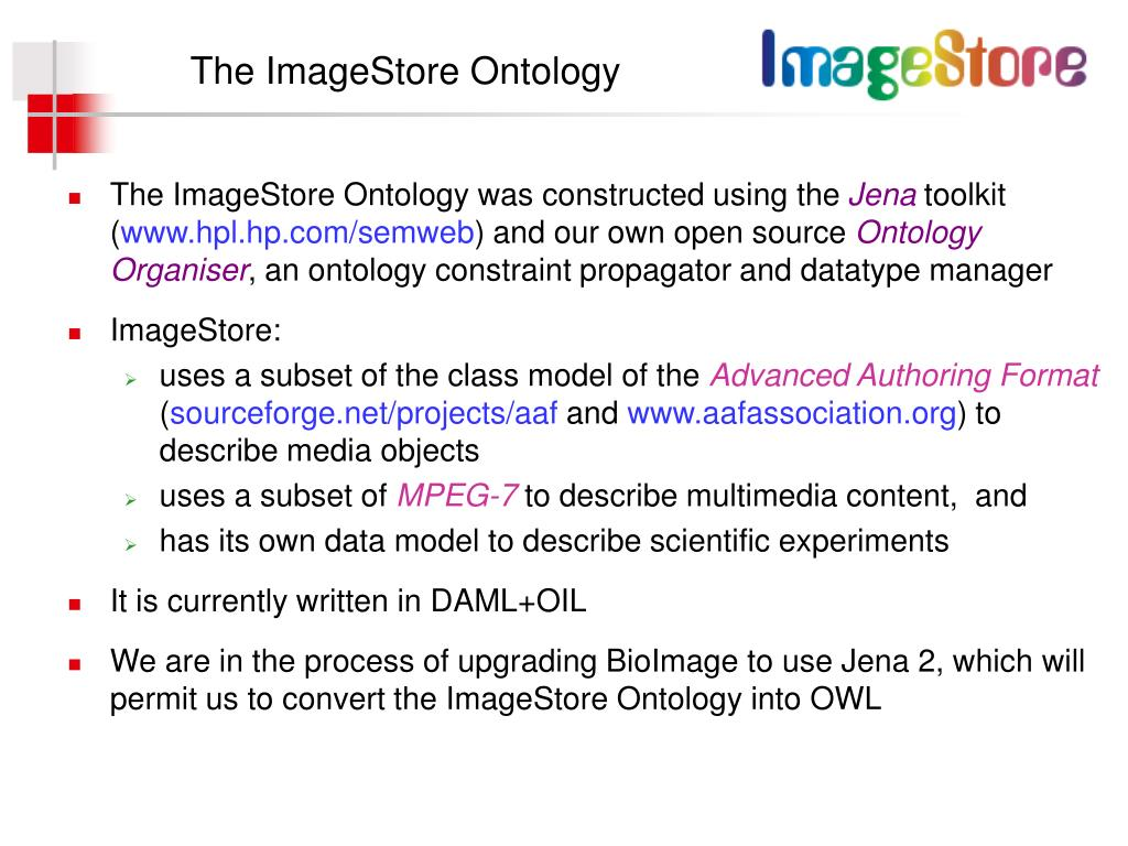 The ImageStore Ontology