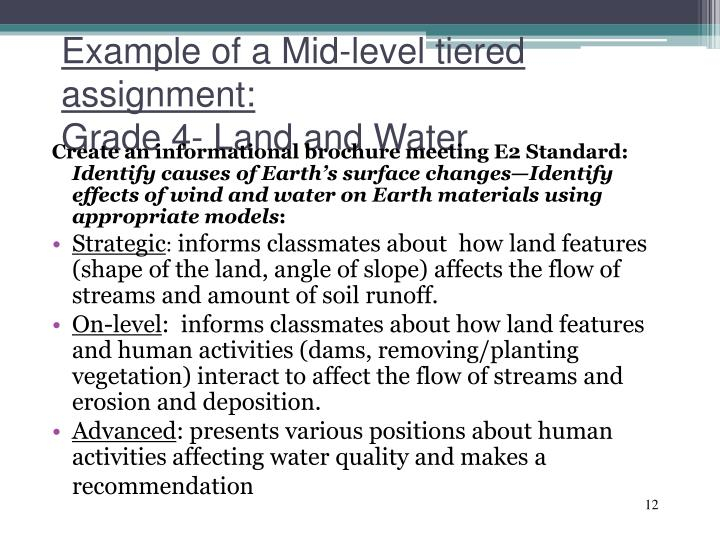 Example of a Mid-level tiered assignment: