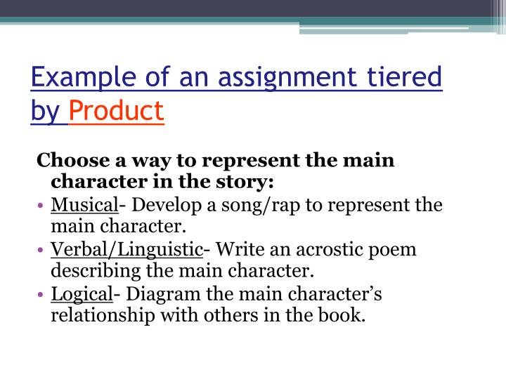 Example of an assignment tiered by