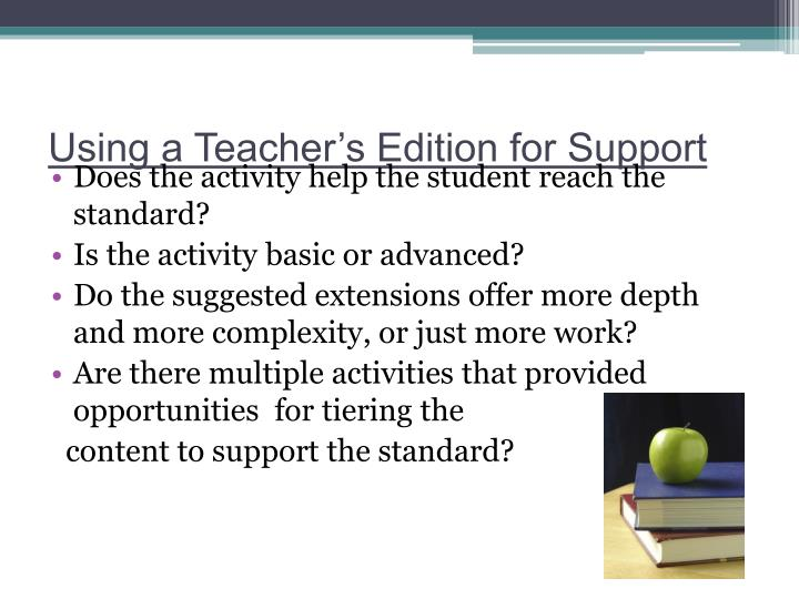 Using a Teacher's Edition for Support