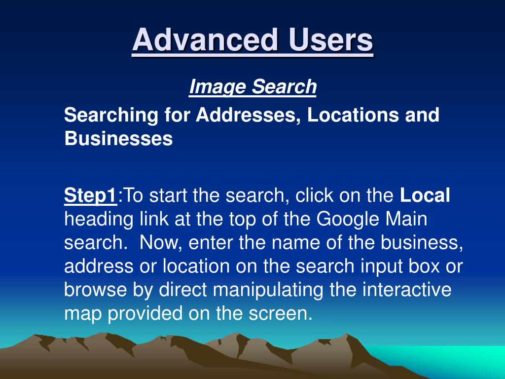 Advanced Users