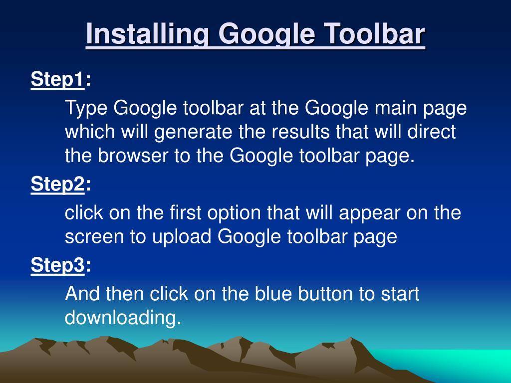 Installing Google Toolbar