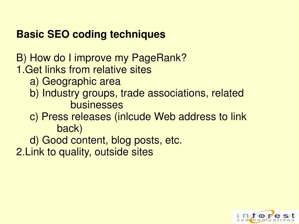 Basic SEO coding techniques
