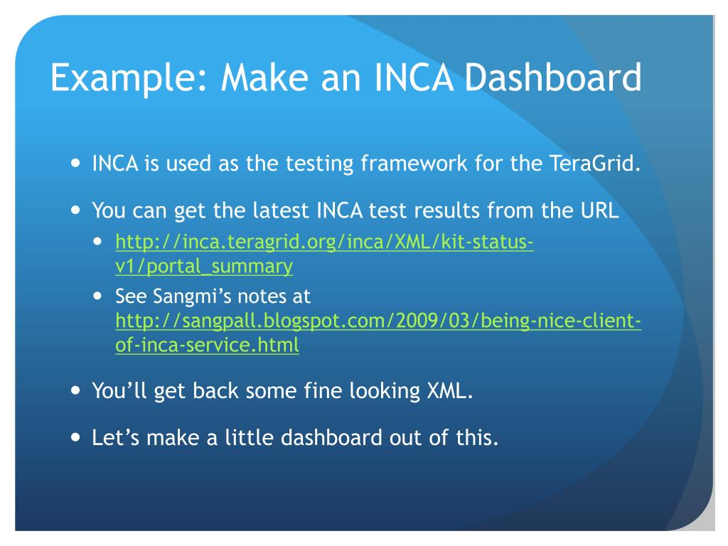 Example: Make an INCA Dashboard
