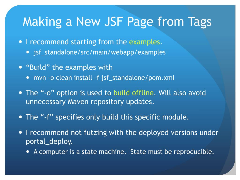 Making a New JSF Page from Tags