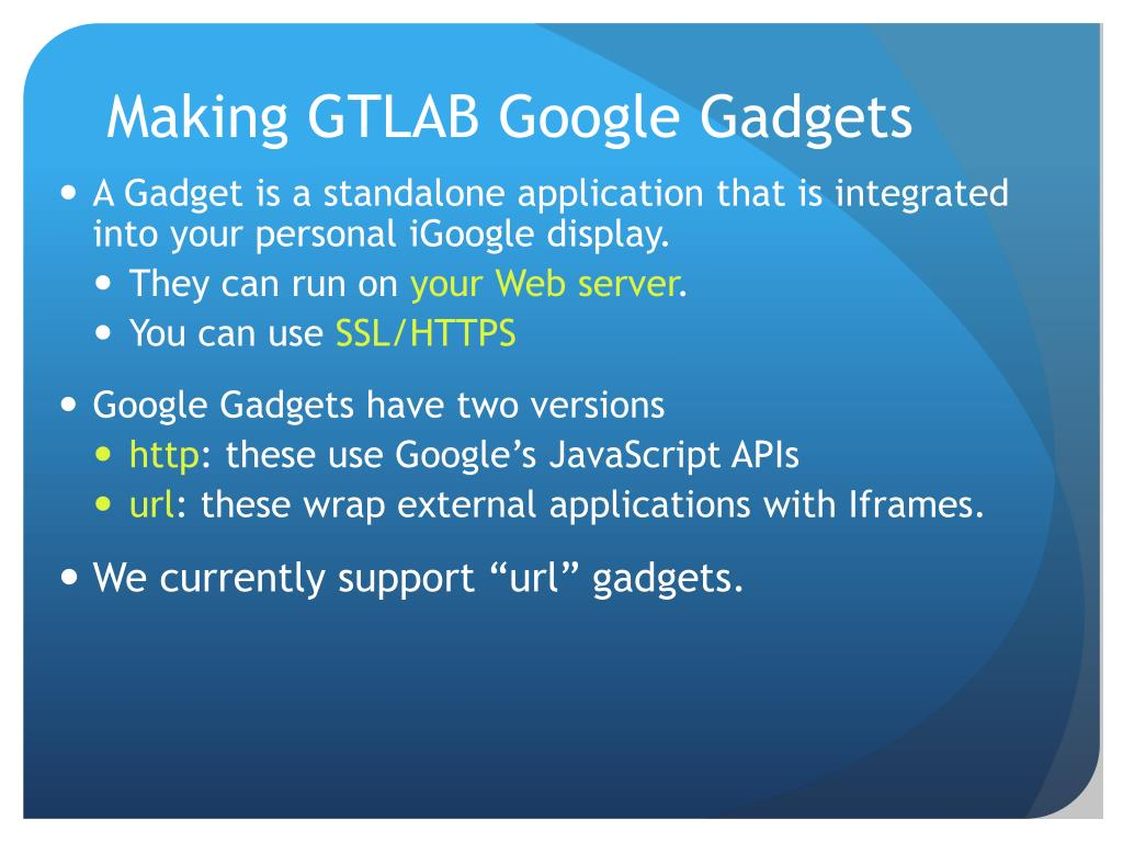 Making GTLAB Google Gadgets