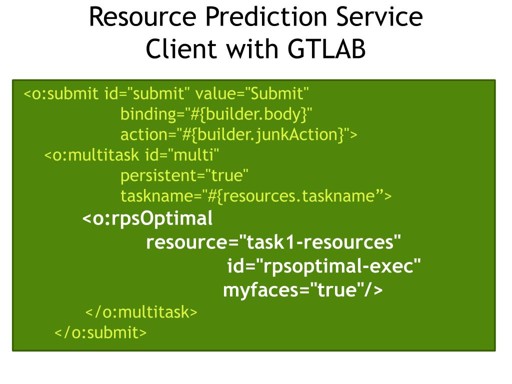 Resource Prediction Service Client with GTLAB