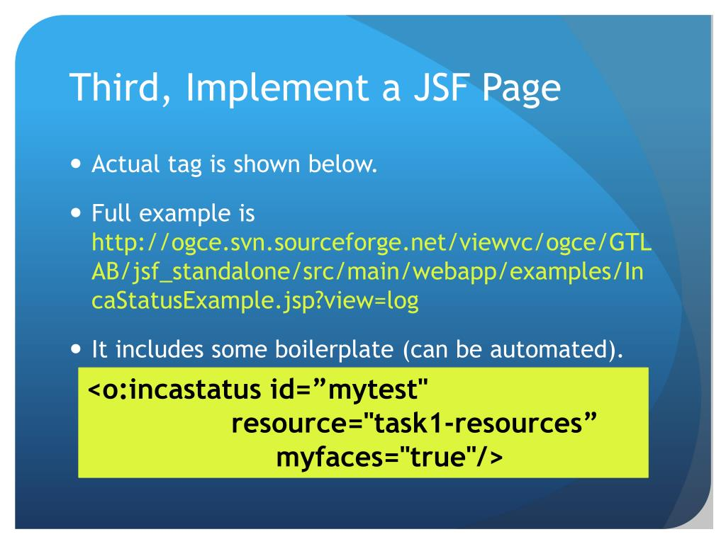 Third, Implement a JSF Page