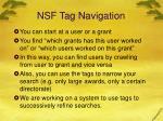 nsf tag navigation