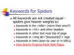 keywords for spiders
