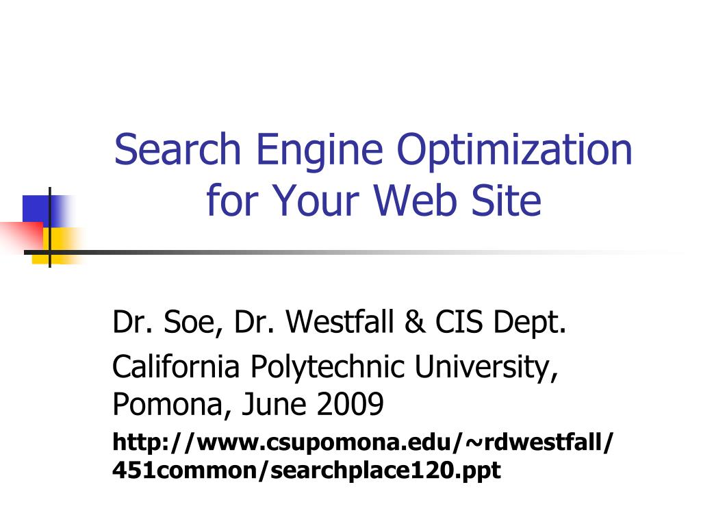 search engine optimization for your web site l.