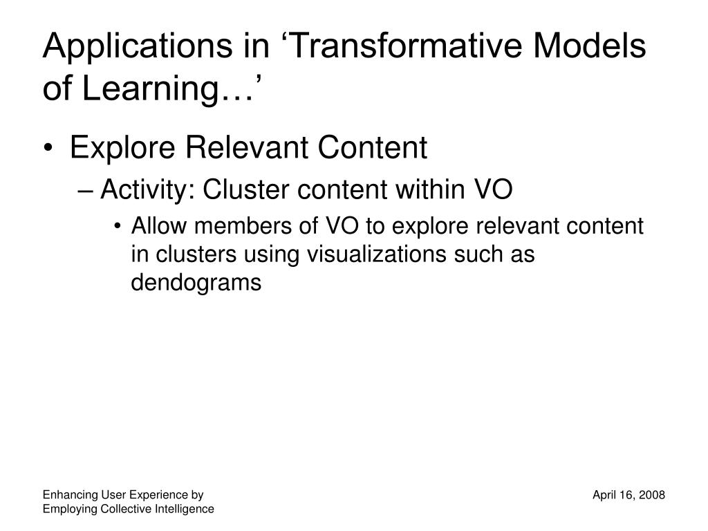 Applications in 'Transformative Models of Learning…'