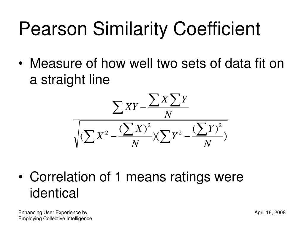 Pearson Similarity Coefficient